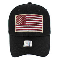VM013 USA Flag Whole Mesh Velcro Cap (Solid Black)