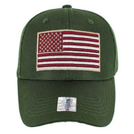 VM013 USA Flag Whole Mesh Velcro Cap (Solid Olive)