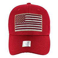 VM013 USA Flag Whole Mesh Velcro Cap (Solid Red)