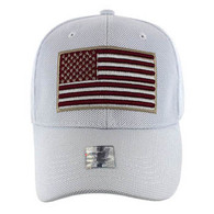 VM013 USA Flag Whole Mesh Velcro Cap (Solid White)