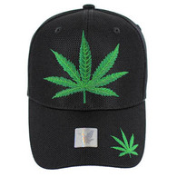 VM013 Marijuana Whole Mesh Velcro Cap (Solid Black)