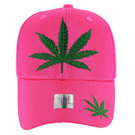 VM013 Marijuana Whole Mesh Velcro Cap (Solid Hot Pink)