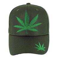 VM013 Marijuana Whole Mesh Velcro Cap (Solid Olive)
