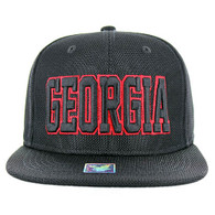 SM013 Georgia Whole Mesh Snapback (Solid Black)