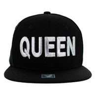 SM1000 Queen Snapback Cap (Solid Black) - Silver Stitch