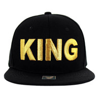 SM1000 King Snapback Cap (Solid Black) - Gold Stitch