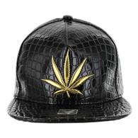 SM966 Marijuana Snapback Cap (Solid Black)