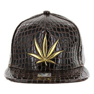 SM966 Marijuana Snapback Cap (Solid Brown)