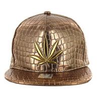 SM966 Marijuana Snapback Cap (Solid Gold)