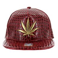 SM966 Marijuana Snapback Cap (Solid Red)