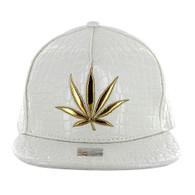 SM966 Marijuana Snapback Cap (Solid White)