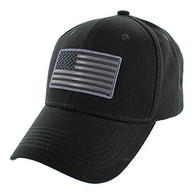 VM9005 USA Flag Cotton Cap (Solid Black)