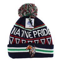 WB072 Native Pride Horse Pom Pom Beanie (Black)