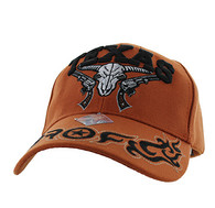 VM512 Texas Skull Guns Velcro Cap (Solid Texas Orange)