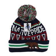 WB072 Native Pride Bear Feather Pom Pom Beanie (Black)