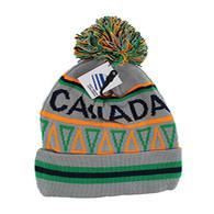 WB072 Native Pride Canada Pom Pom Beanie (Light Grey)