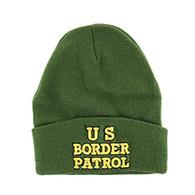 WB040 US Border Patrol Long Beanie (Solid Olive)