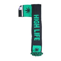 WS030 Marijuana High Life Hoodie Scarf (Black & Kelly Green)