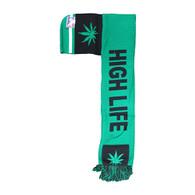 WS030 Marijuana High Life Hoodie Scarf (Kelly Green & Black)