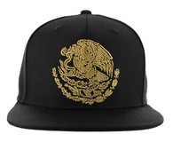 SM642 Mexico Snapback Cap (Solid Black) - Gold Stitch