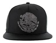 SM642 Mexico Snapback Cap (Solid Black) - Silver Stitch