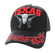 VM512 Texas Skull Guns Velcro Cap (Solid Black)