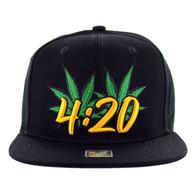 SM101 Marijuana Snapback Cap (Black & Black)