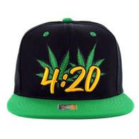 SM101 Marijuana Snapback Cap (Black & Kelly Green)