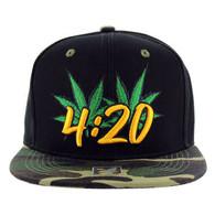 SM101 Marijuana Snapback Cap (Black & Military Camo)