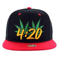 SM101 Marijuana Snapback Cap (Black & Red)