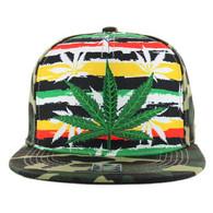 SM098 Marijuana Snapback Cap (Rainbow & Military Camo)