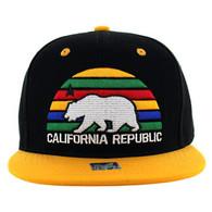 SM012 Cali Bear Snapback Cap (Black & Gold)