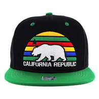 SM012 Cali Bear Snapback Cap (Black & Kelly Green)
