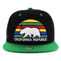 SM012 Cali Bear Snapback Cap (Black & Kelly Green)