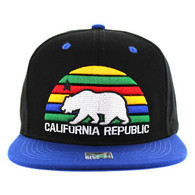 SM012 Cali Bear Snapback Cap (Black & Royal)