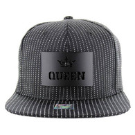 SM006 Queen Snapback Cap (Black & Black) - Black Metal