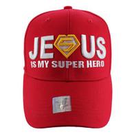 VM037 Jesus is Super Hero Velcro Cap (Solid Red)