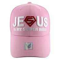 VM037 Jesus is Super Hero Velcro Cap (Solid Light Pink)