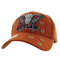 VM512 Outlaw Skull Guns Velcro Cap (Solid Texas Orange)