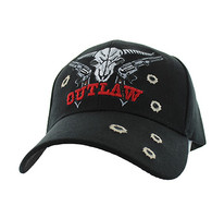 VM512 Outlaw Skull Guns Velcro Cap (Solid Black)