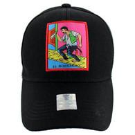 VM100 Loteria Cards El Borracho Baseball Cap Hat  (Solid Black)