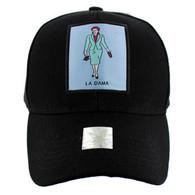 VM100 Loteria Cards La Dama Baseball Cap Hat  (Solid Black)