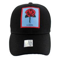 VM100 Loteria Cards La Rosa Baseball Cap Hat  (Solid Black)