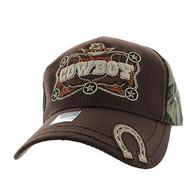 VM502 Cowboy Velcro Cap (Brown & Hunting Camo)
