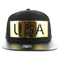 SM057 USA Snapback (Black & Black) - Golden Metal