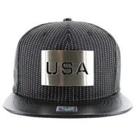 SM045 USA Snapback (Black & Black) - Silver Metal
