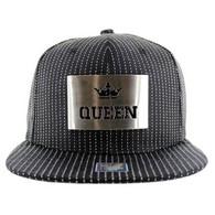 SM045 Queen Snapback Cap (Black & Black) - Silver Metal