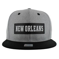 SM007 New Orleans Cotton Snapback Cap Hat (Grey & Black)
