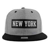 SM007 New York Snapback Cap (Grey & Black)