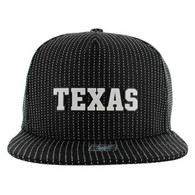 SM007 Texas Cotton Snapback Cap Hat (Black & Black)